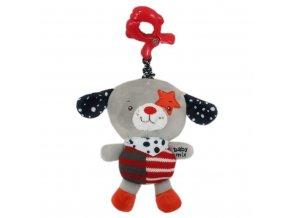 Detská plyšová hračka s hracím strojčekom Baby Mix psíček červená