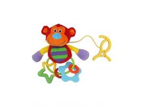 Plyšová hračka s hrkálkou Baby Mix opička s klipom
