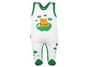 Dojčenské bavlnené dupačky New Baby Líška zelená