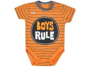 Dojčenské letné body Koala Boys Rule oranžové