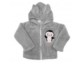Zimná detská mikina New Baby Penguin sivá
