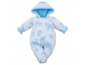 Zimná dojčenská kombinéza s kapucňou Baby Service Slony modrá