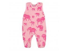 Zimné dojčenské dupačky Baby Service Slony ružové