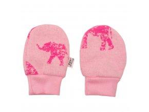 Zimné dojčenské rukavičky Baby Service Slony ružové