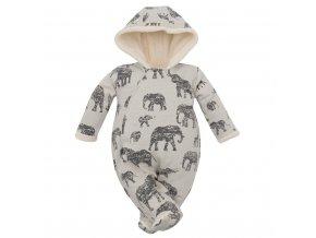 Zimná dojčenská kombinéza s kapucňou Baby Service Slony sivá