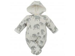 Zateplená dojčenská kombinéza s kapucňou Baby Service Slony sivá