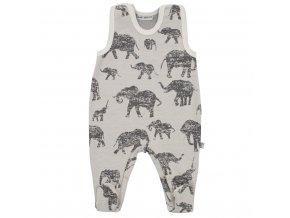Zimné dojčenské dupačky Baby Service Slony sivé