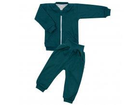 Dojčenské tepláčky a mikinka New Baby Uni smaragdovo zelená
