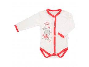 Detské celorozopínacie body New Baby Lovely Rabbit ružové
