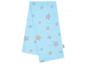 Bavlnená plienka s potlačou New Baby modrá so sivými hviezdami