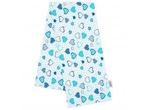Flanelová plienka s potlačou New Baby biela srdiečka modré