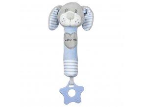 Detská pískacia plyšová hračka s hryzátkom Baby Mix pes modrý