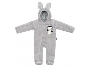 Zimná detská kombinéza New Baby Penguin sivá