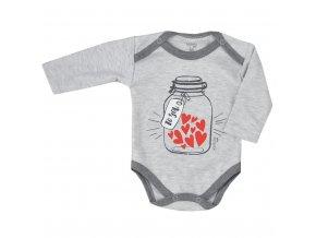Dojčenské body s dlhým rukávom Koala To You svetlo sivé