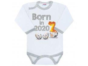Body s potlačou New Baby Born in 2020 sivo-biele