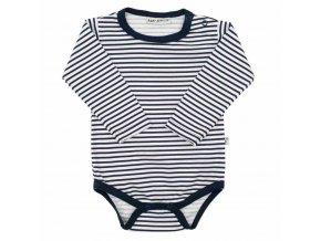 Dojčenské bavlnené body Baby Service Retro pruhy modré