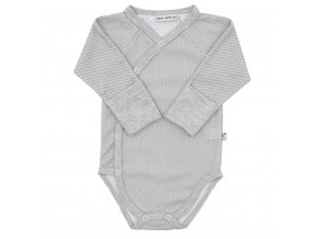 Dojčenské celorozopínacie bavlnené body Baby Service Retro sivé