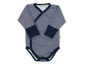 Dojčenské celorozopínacie bavlnené body Baby Service Retro modré