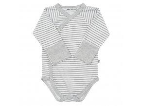 Dojčenské celorozopínacie bavlnené body Baby Service Retro pruhy sivé