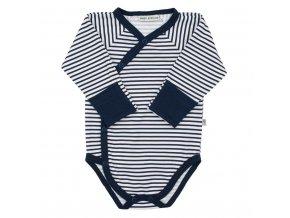Dojčenské celorozopínacie bavlnené body Baby Service Retro pruhy modré