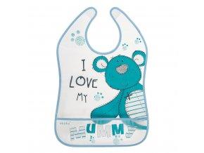 Detský podbradník s vreckom Akuku Teddy Bear