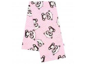 Bavlnená plienka s potlačou New Baby rúžová panda s bielou bodkou