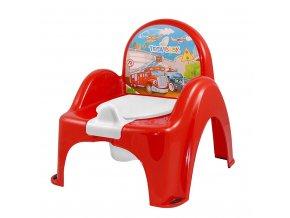 Hrajúci detský nočník s poklopom Autíčka červený