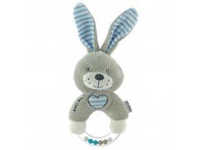 Detská plyšová hrkálka Baby Mix králik modrý