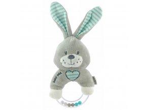 Detská plyšová hrkálka Baby Mix králik mätový