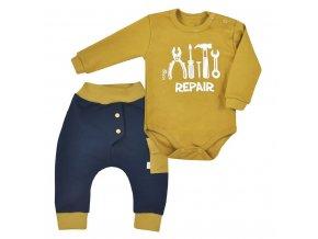 2-dielna bavlnená dojčenská súprava Koala Repair oldgold