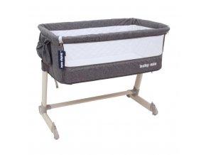Detská cestovná postieľka k posteli rodičov Baby Mix Grey