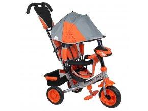 Detská trojkolka so svetlami Baby Mix Lux Trike sivo-oranžová