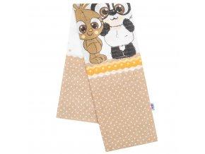 Bavlnená plienka s potlačou New Baby hnedá panda a králik