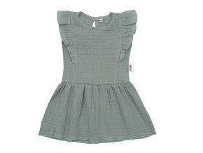 Dojčenské mušelínové šaty New Baby Summer Nature Collection mätové