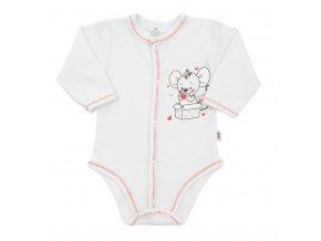 Dojčenské celorozopínacie body New Baby Mouse biele