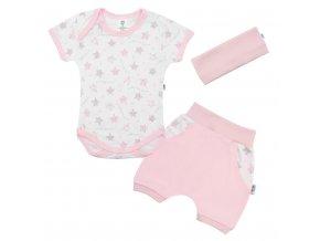 3-dielna letná bavlnená súprava New Baby Perfect Summer ružová
