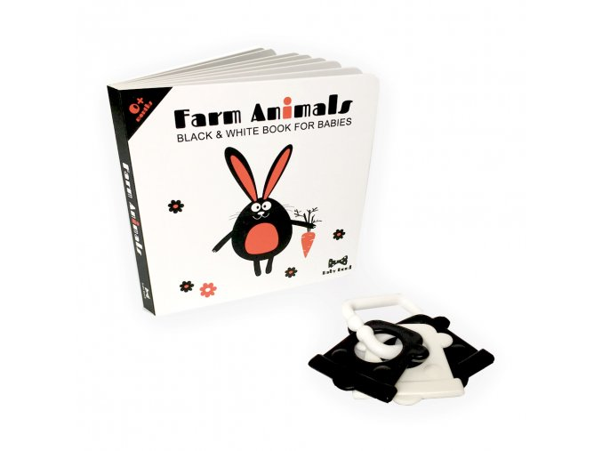 MINI SET (Černobílá kontrastní kniha Farm Animals s chrastítkem / Black and white book Farm Animals with rattle