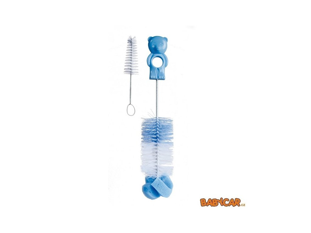 CANPOL BABIES kartáč na čištění láhví s hubkou Modrá