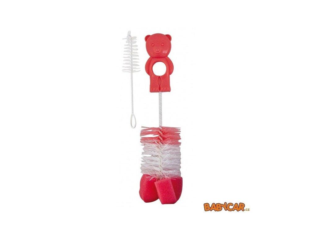 CANPOL BABIES kartáč na čištění láhví s hubkou Růžová