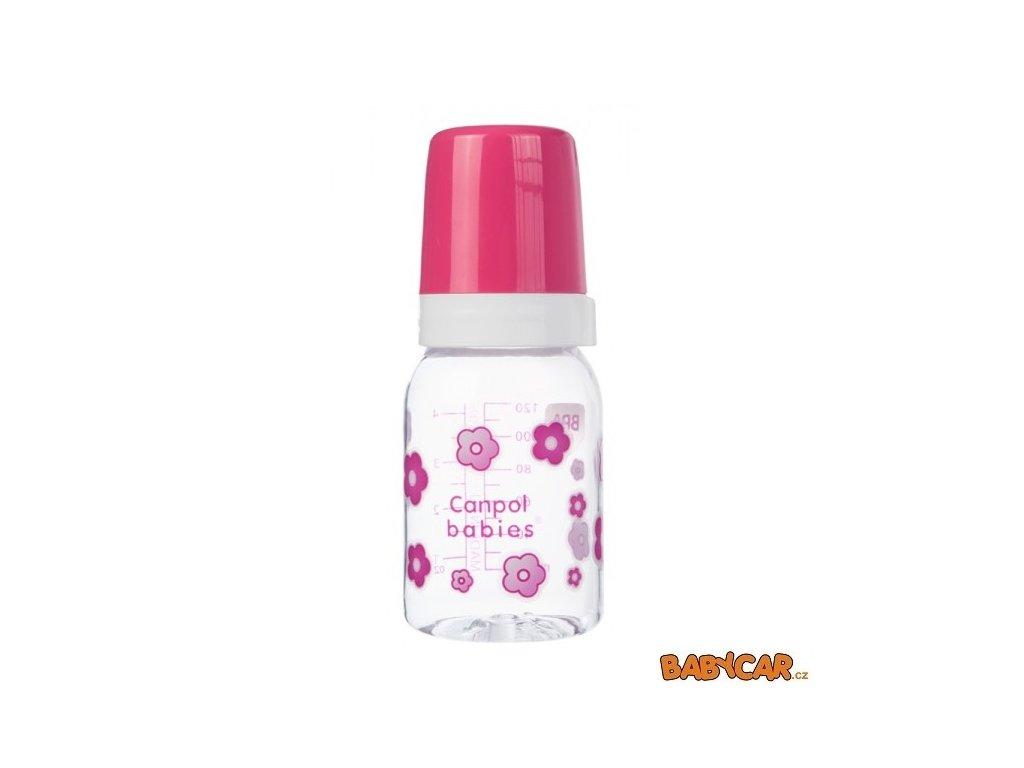 CANPOL BABIES láhev s jednobarevným potiskem 120ml Kytky/Růžová