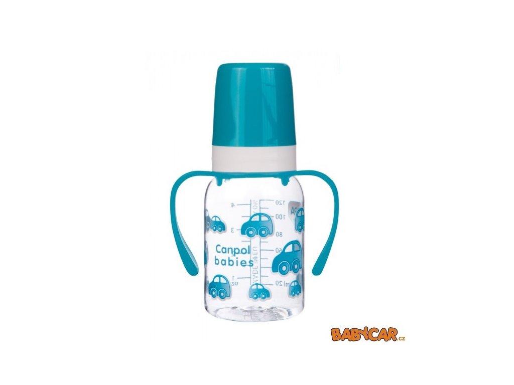 CANPOL BABIES láhev s jednobarevným potiskem a úchyty 120ml Autíčka/Modrá