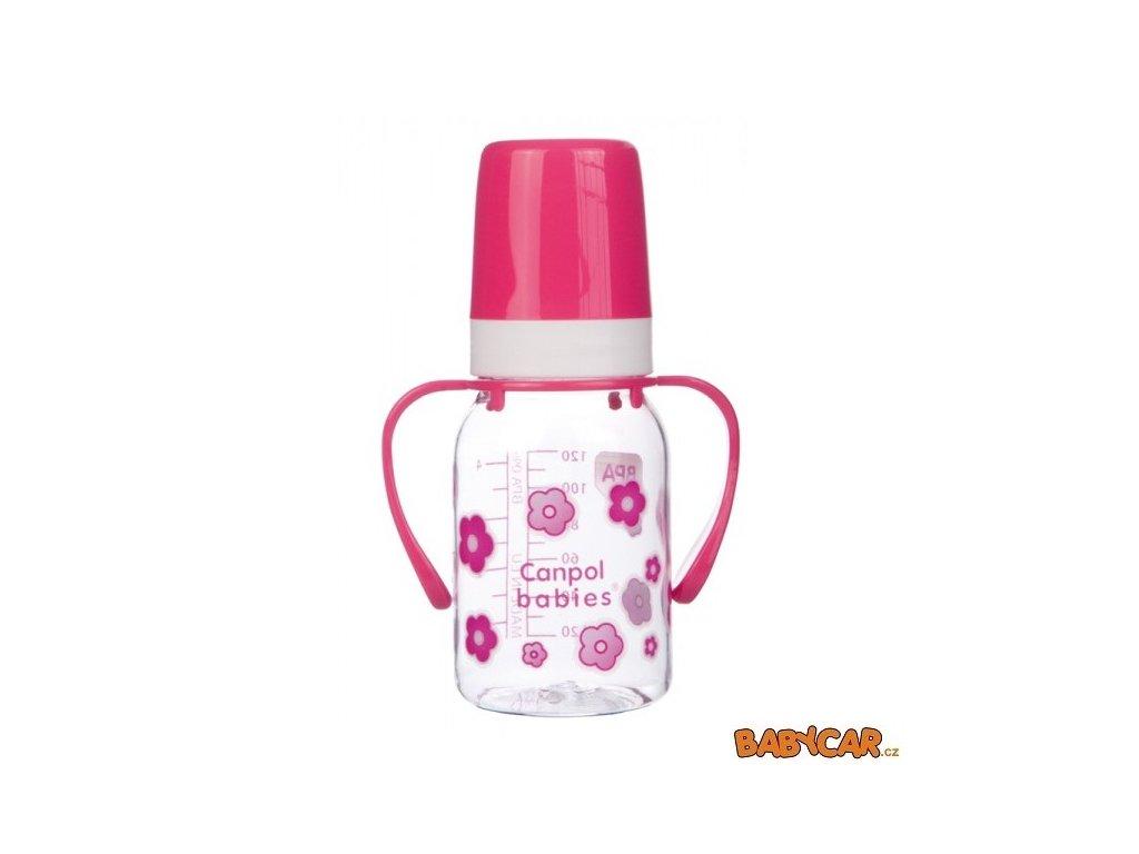 CANPOL BABIES láhev s jednobarevným potiskem a úchyty 120ml Kytky/Růžová