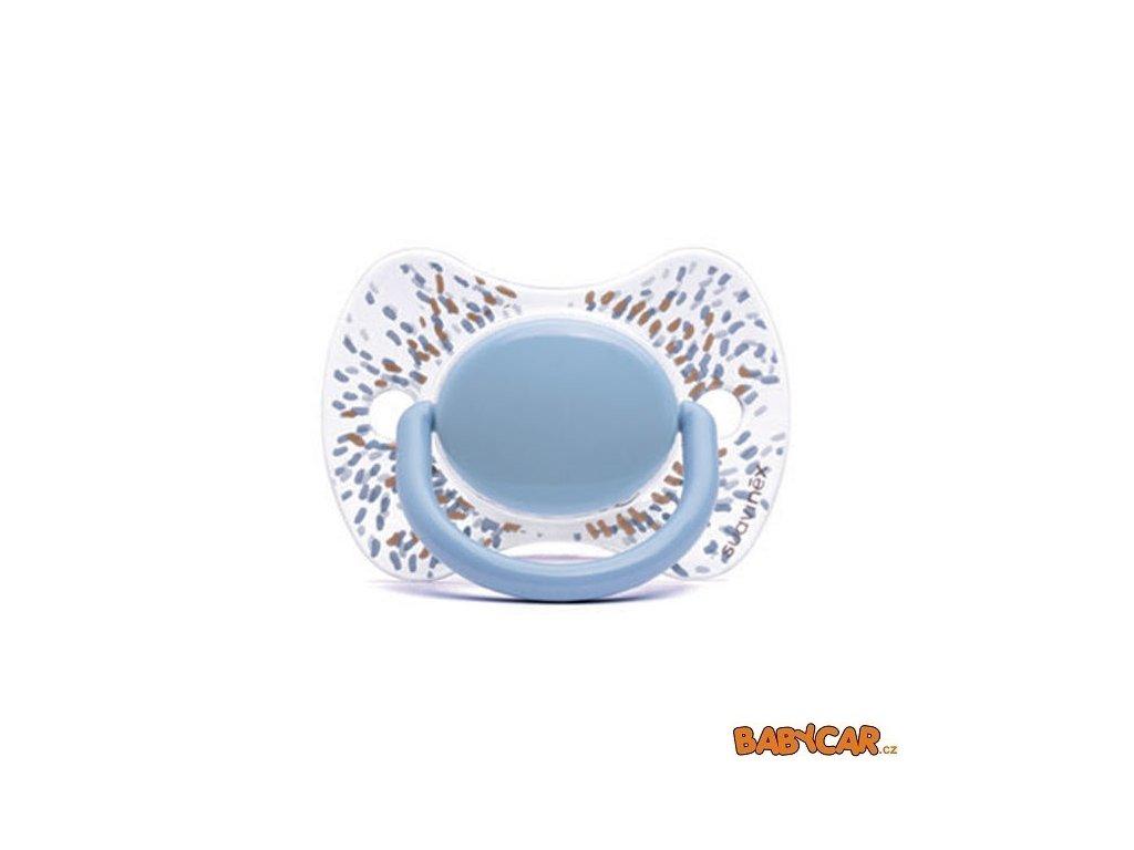 SUAVINÉX silikonový dudlík FYZIOLOGICKÝ HAUTE COUTURE GOLD 0-4m, 1ks Prskaná/Modrá