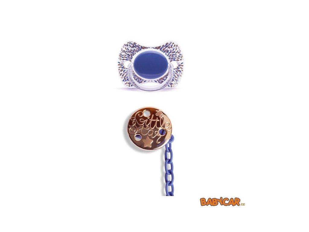 SUAVINÉX silikonový dudlík FYZIOLOGICKÝ HAUTE COUTURE GOLD +4m + Klip Prskaná/Modrá