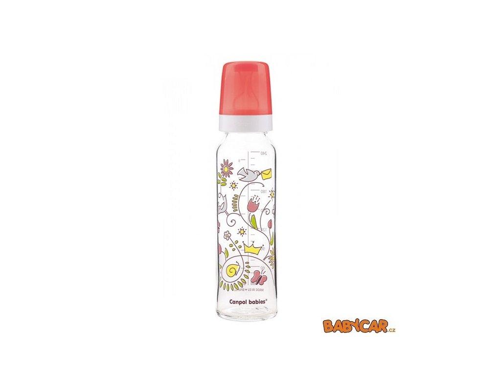 CANPOL BABIES skleněná láhev s potiskem 240ml Červená