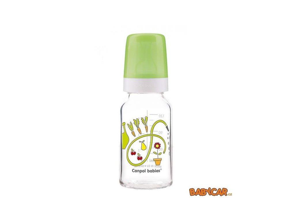 CANPOL BABIES skleněná láhev s potiskem 120ml Zelená