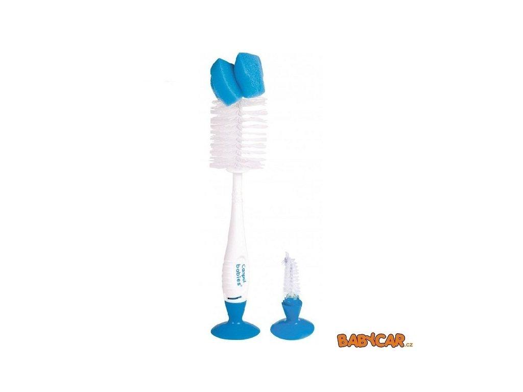 CANPOL BABIES kartáč na čištění láhví a saviček s přísavkou Modrá