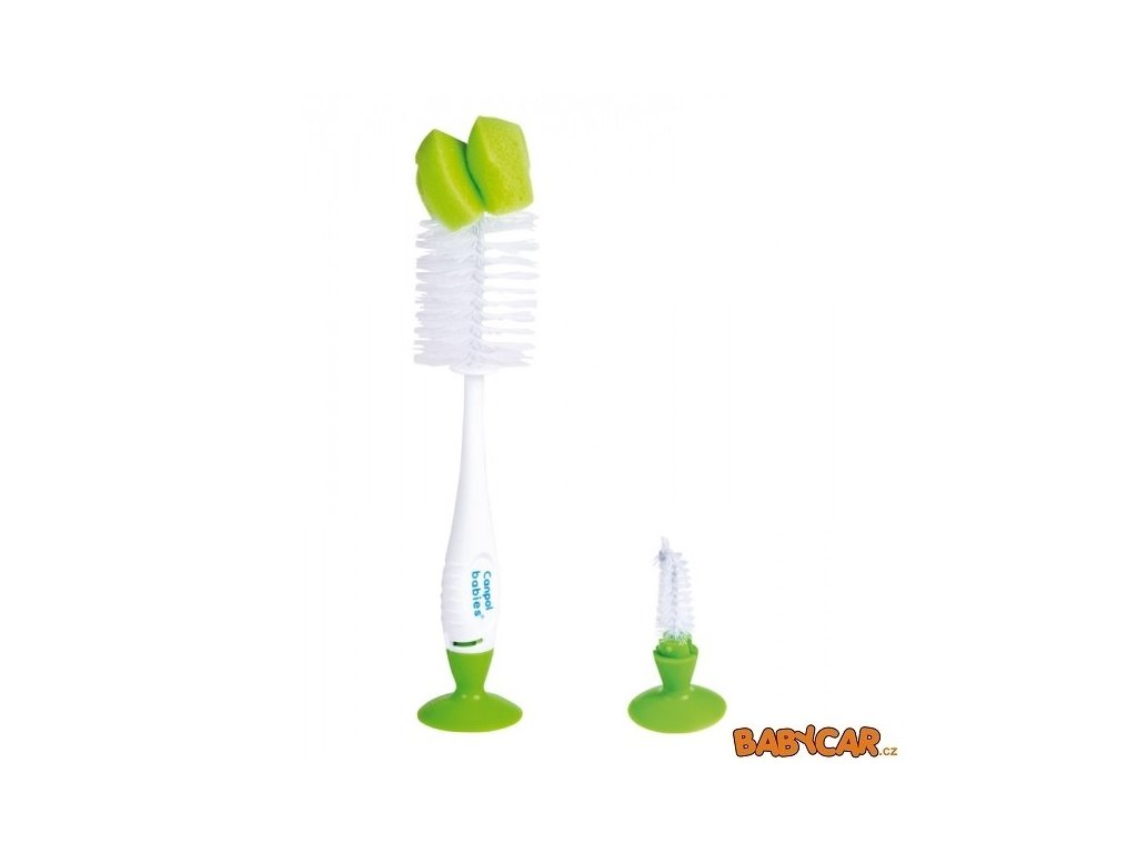 CANPOL BABIES kartáč na čištění láhví a saviček s přísavkou Zelená