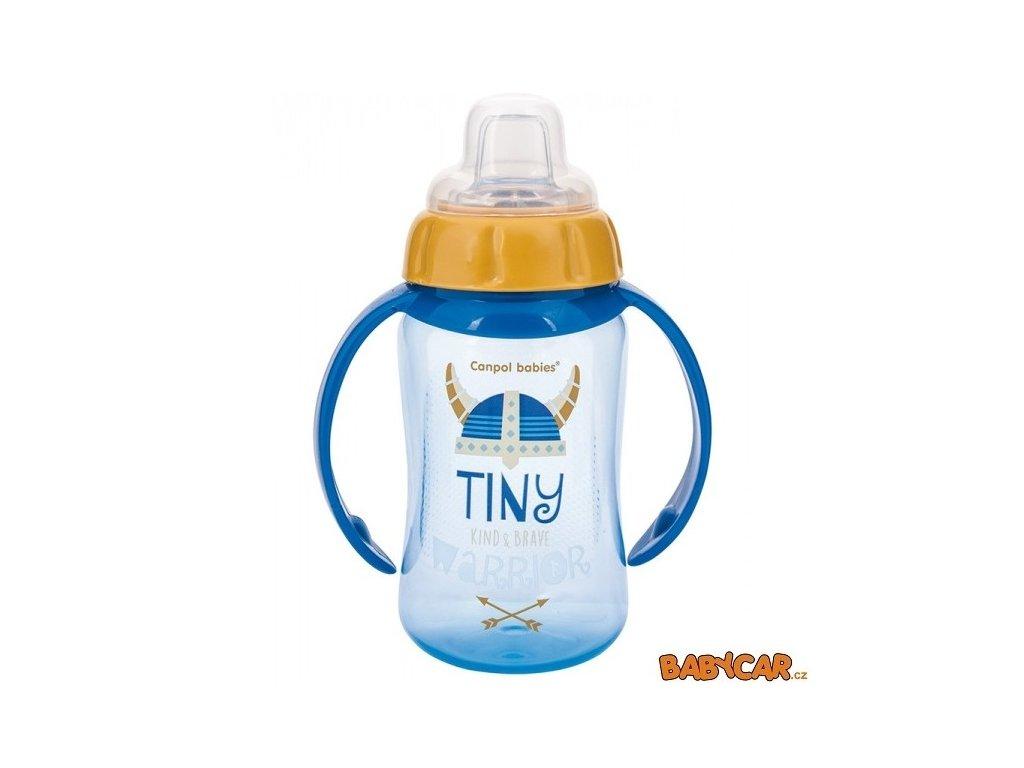 CANPOL BABIES tréninkový hrníček se silikonovým pítkem a úchyty FUTURE DAYDREAMS Modrá