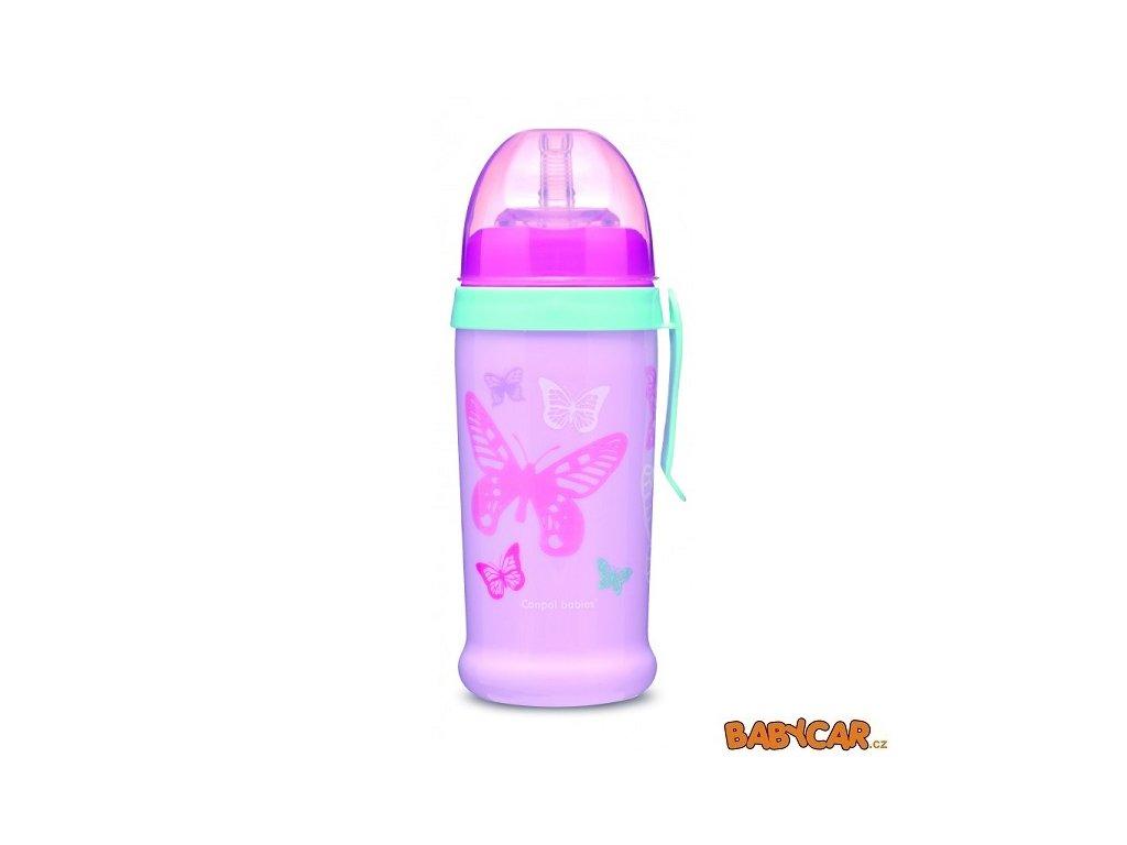 CANPOL BABIES sportovní láhev se silikonovou nevylévací slámkou MOTÝLEK Růžová
